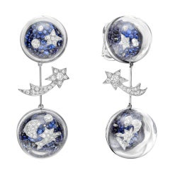 "CHANEL Sapphire & Diamond ""Elements Celestes"" Drop Earrings"