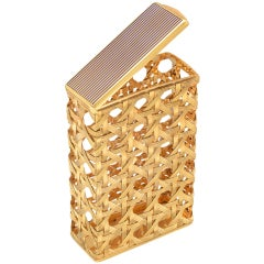 BULGARI Gold Open Weave Cigarette Case