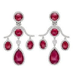 FRED LEIGHTON Ruby & Diamond Chandelier Earclips