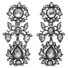 Georgian Rose-Cut Diamond Pendant Earrings