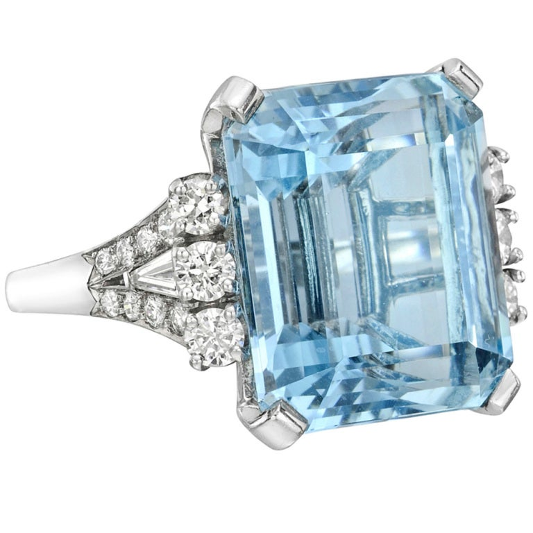 beautiful emerald cut aquamarine and ring at 1stdibs