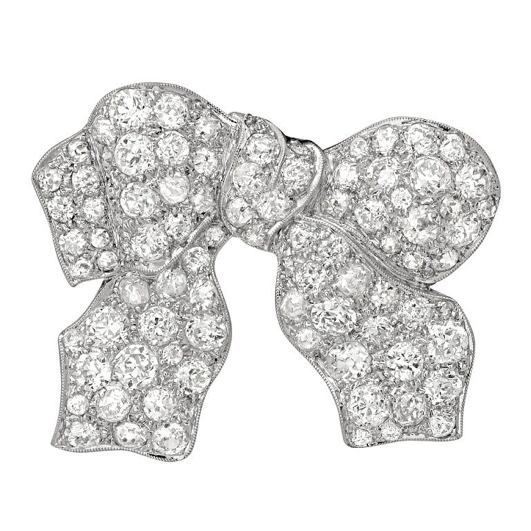 1930s Antique Diamond Bow Pin