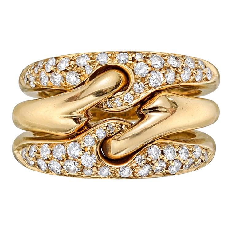 Gold Italy Platinum: BULGARI Gold And Pavé Diamond 3-Band Ring At 1stdibs