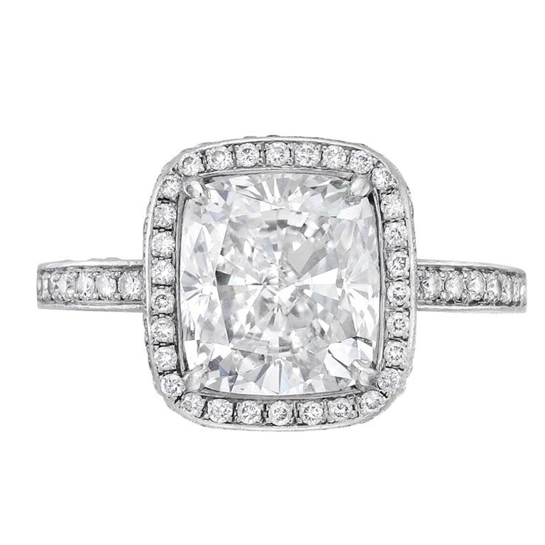 Gorgeous 3 04 Carat Cushion Cut Diamond Engagement Ring at 1stdibs