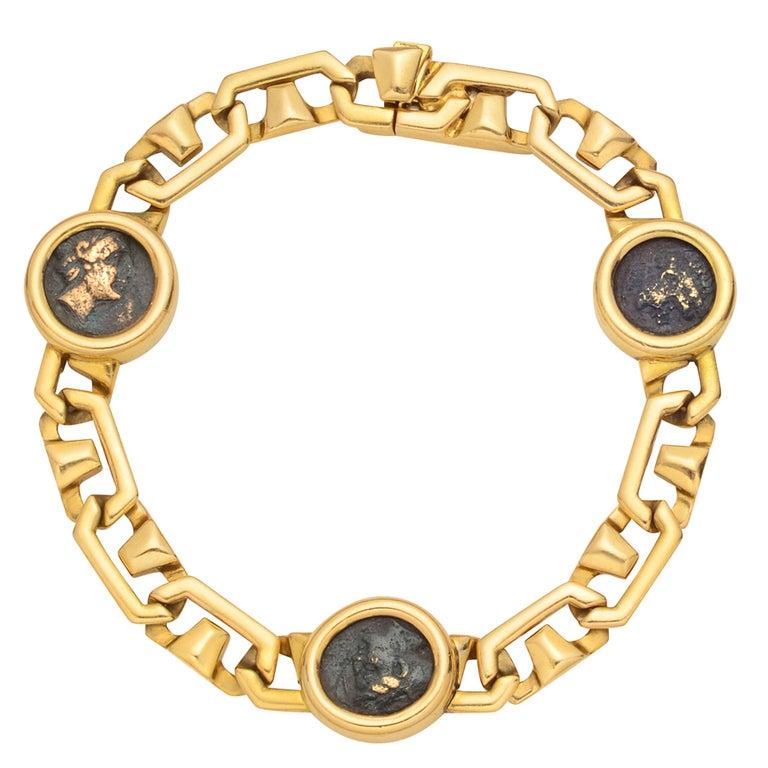 Bulgari Gold And Antique Coin Link Bracelet At 1stdibs