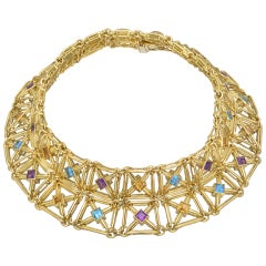HAMMERMAN BROTHERS Gold Gem-Set Lattice Choker