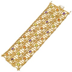 HAMMERMAN BROTHERS Gold Gem-Set Lattice Bracelet