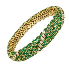 Emerald & Diamond Bombé Link Bracelet