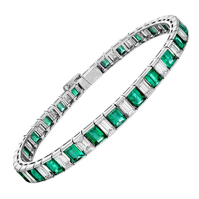 Emerald And Diamond Line Bracelet At 1stdibs