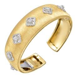 BUCCELLATI Gold & Diamond Cuff Bracelet