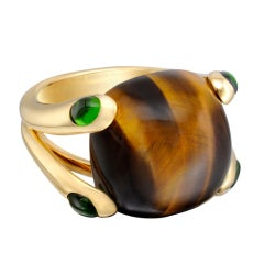 """VERUDRA """"Candy"""" Tiger's Eye Ring with Chrome Tourmaline"""