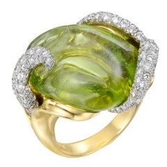 Nicholas Varney Carved Peridot & Diamond Cocktail Ring
