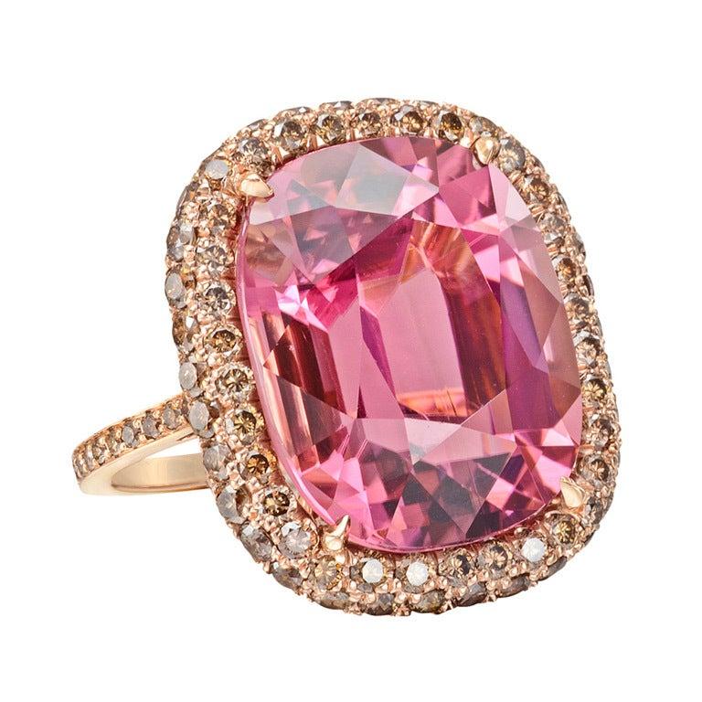 Paolo Costagli Pink Tourmaline & Cognac Diamond  Ring