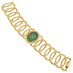 Piaget Lady's Yellow Gold Oval Bracelet Watch with Jade Dial