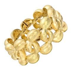 Vaid Hammered Gold Openwork Cuff