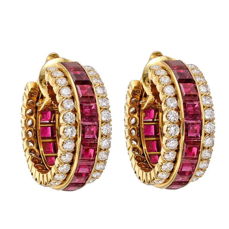 Van Cleef & Arpels Invisible-Set Ruby & Diamond Hoop Earclips 1
