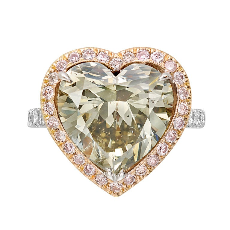 8.02 Carat Fancy-Colored Heart Shaped Diamond Ring