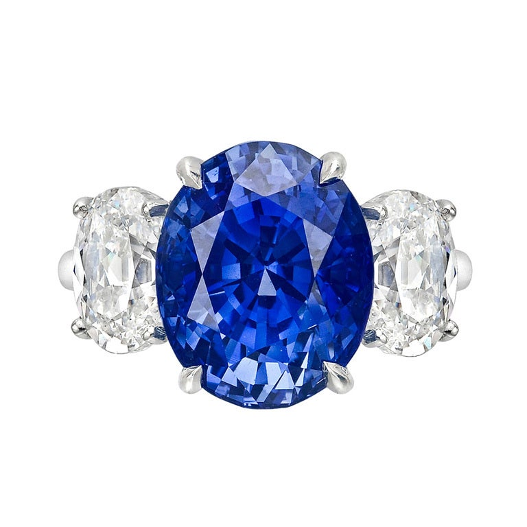10 04 Carat Oval Cut Sapphire and Diamond Ring at 1stdibs