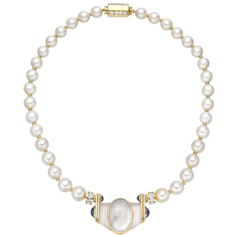 Bulgari Pearl Necklace: Bulgari Ancient Intaglio Pearl Necklace At 1stdibs