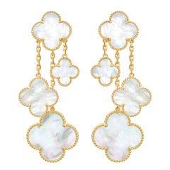 """Van Cleef & Arpels Mother-of-Pearl """"Magic Alhambra"""" Earrings"""