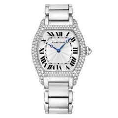 Cartier Lady's White Gold and Diamond Tortue Wristwatch
