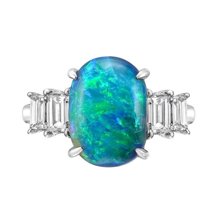 Vivid Black Opal and Diamond Ring at 1stdibs