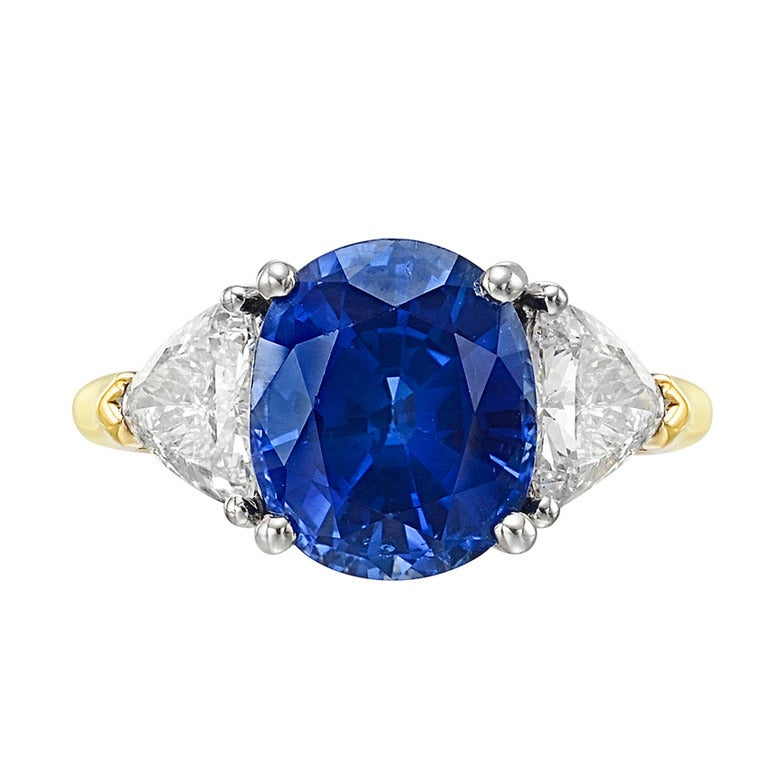 4 33 Carat Cushion Cut Sapphire and Diamond Ring at 1stdibs