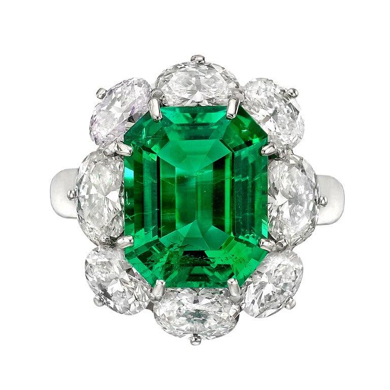 6 10 Carat Emerald & Diamond Cluster Ring