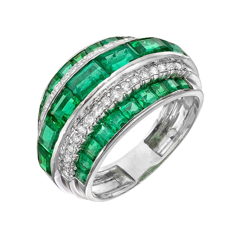 emerald and dome band ring at 1stdibs