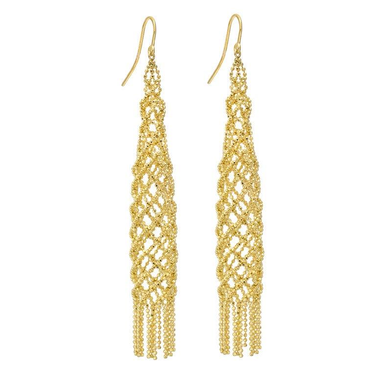 TIFFANY & CO. Gold Woven Bead Chain Tassel Earrings