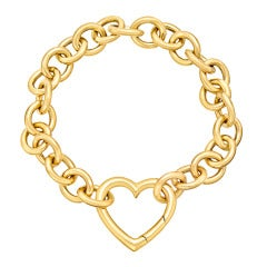 TIFFANY & CO. Gold Link Bracelet with Heart Clasp