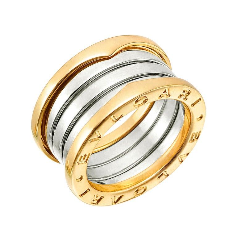 bulgari bzero1 white u0026 yellow gold 4band ring 1