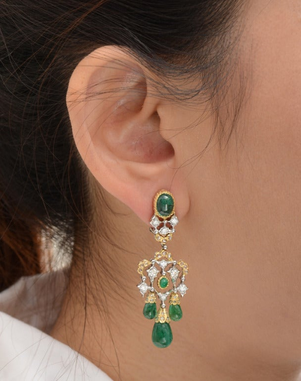 Buccellati emerald drop chandelier earrings at 1stdibs buccellati emerald drop chandelier earrings 2 mozeypictures Choice Image