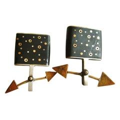 Tod Pardon Sterling Silver Gold Wood Kinetic Post Modernist Earrings