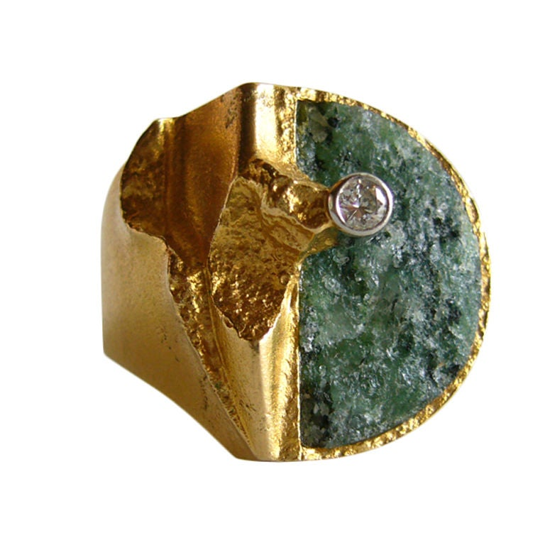 bjorn weckstrom for lapponia zoisite diamond gold ring for