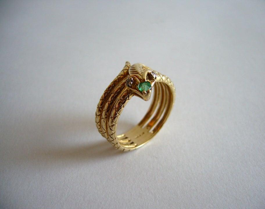 Diamond Emerald Gold Snake Ring image 2