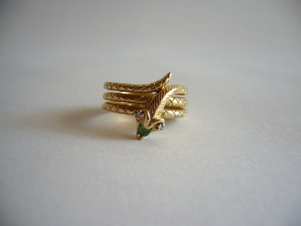 Diamond Emerald Gold Snake Ring image 3
