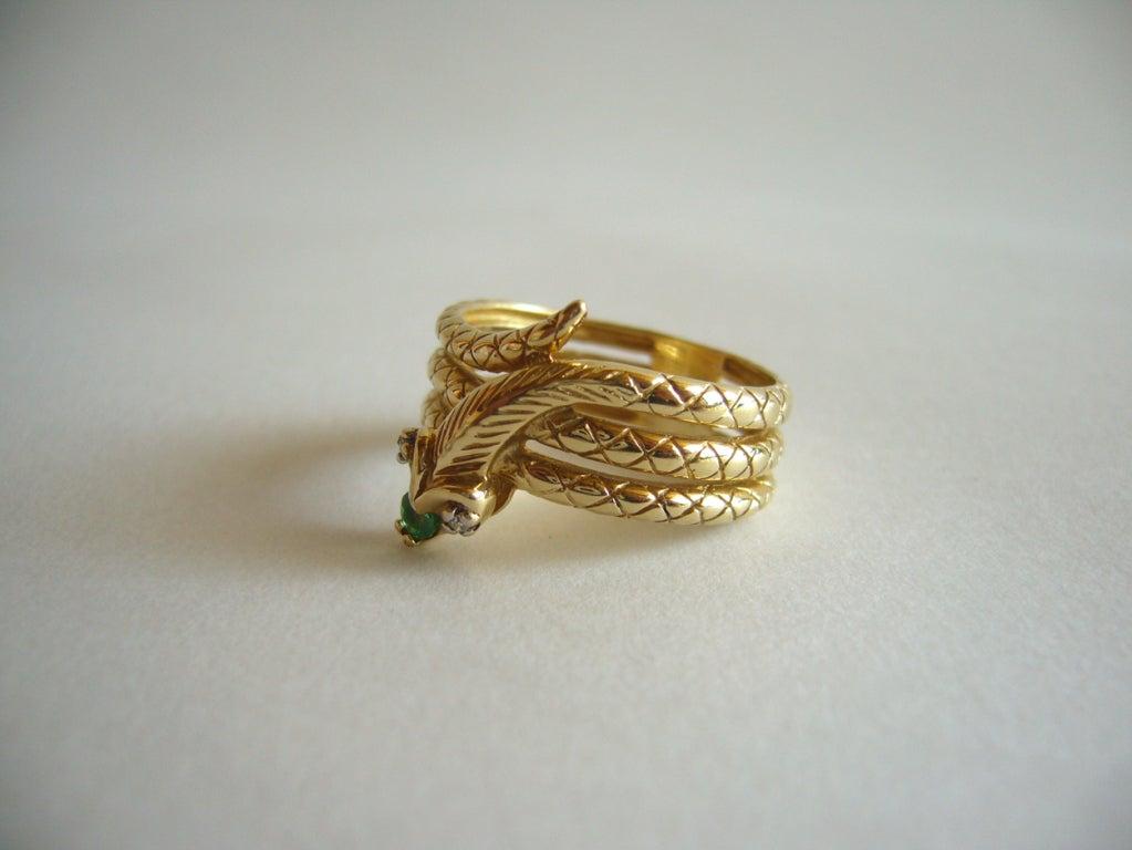 Diamond Emerald Gold Snake Ring image 4