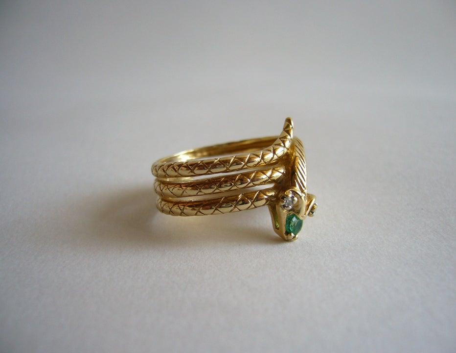 Diamond Emerald Gold Snake Ring image 5