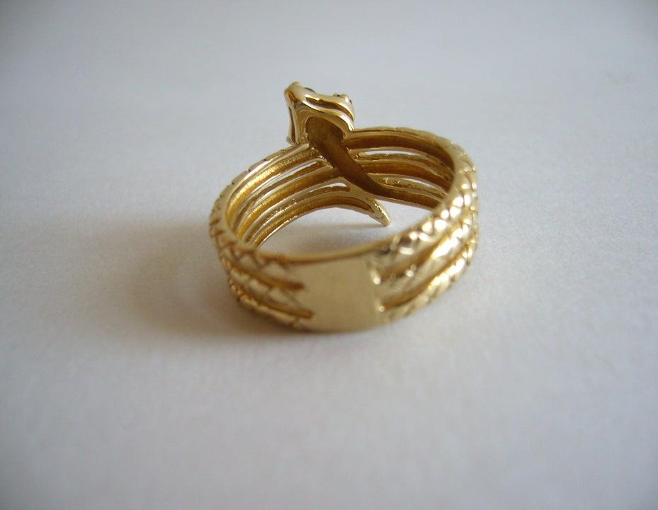 Diamond Emerald Gold Snake Ring image 7