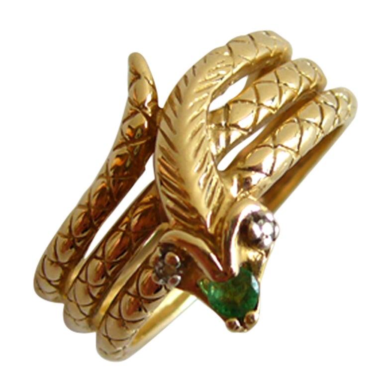 Diamond Emerald Gold Snake Ring