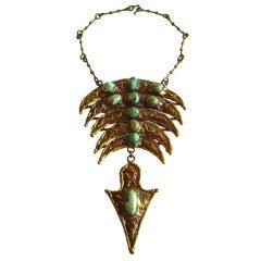 PAL KEPENEYES Turquoise Bronze Necklace
