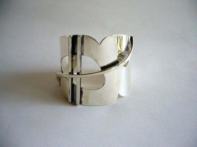 Henry Steig New York Modernist Studio Sterling Silver Bracelet For Sale 1