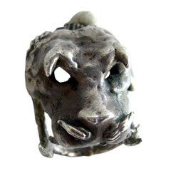 Ernesto Gonzalez Jerrez Cuban Modernist Studio Sterling Silver Boar Ring