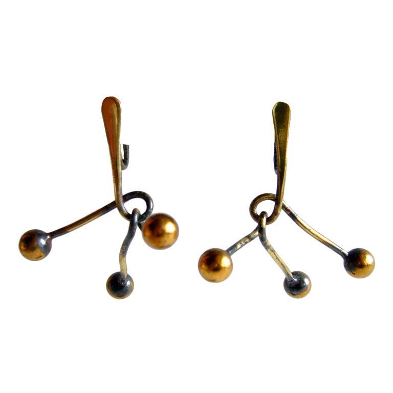 Art Smith Studio Brass Mobile Earrings at 1stdibs