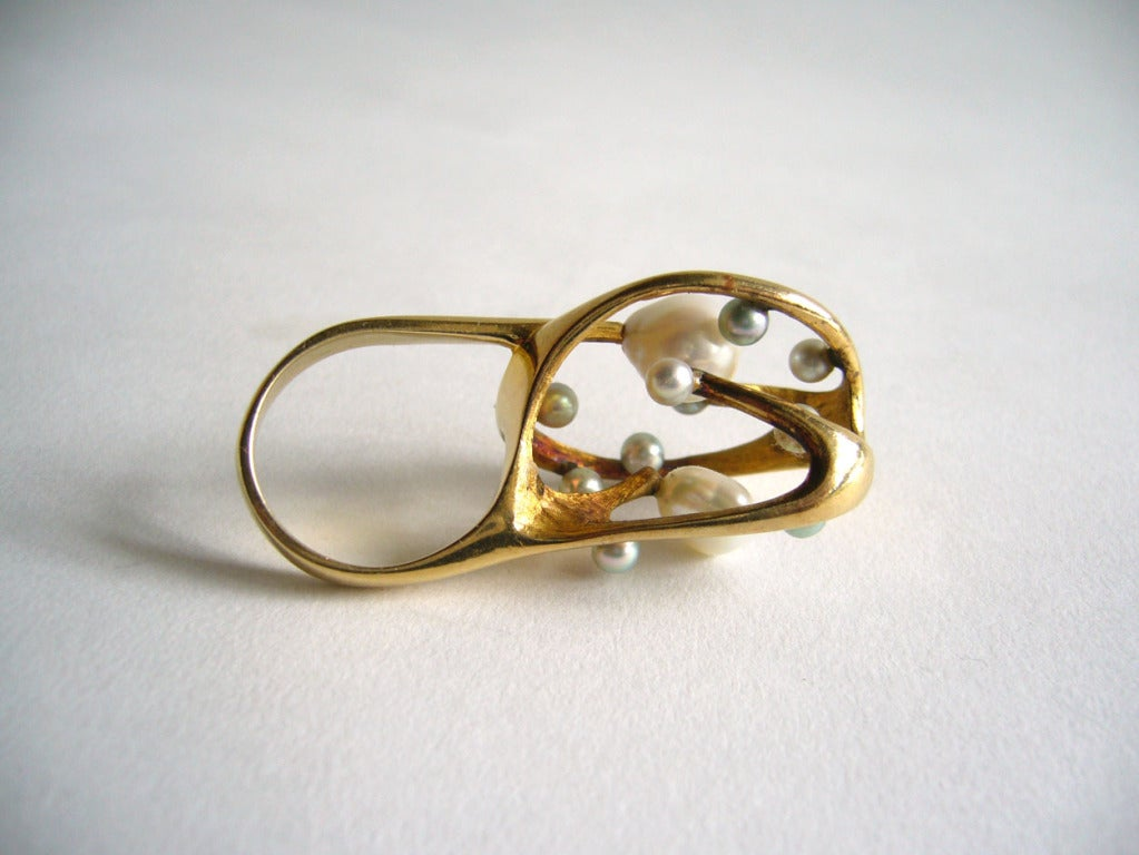 Women's J. Arnold Frew Pearl Gold Modernist Cocktail Ring For Sale