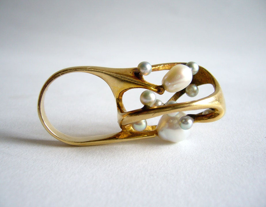 J. Arnold Frew Pearl Gold Modernist Cocktail Ring For Sale 1