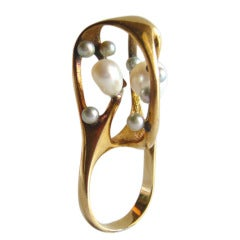 J. Arnold Frew Pearl Gold Modernist Cocktail Ring
