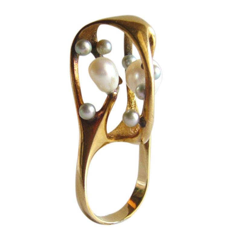 J. Arnold Frew Pearl Gold Modernist Cocktail Ring For Sale