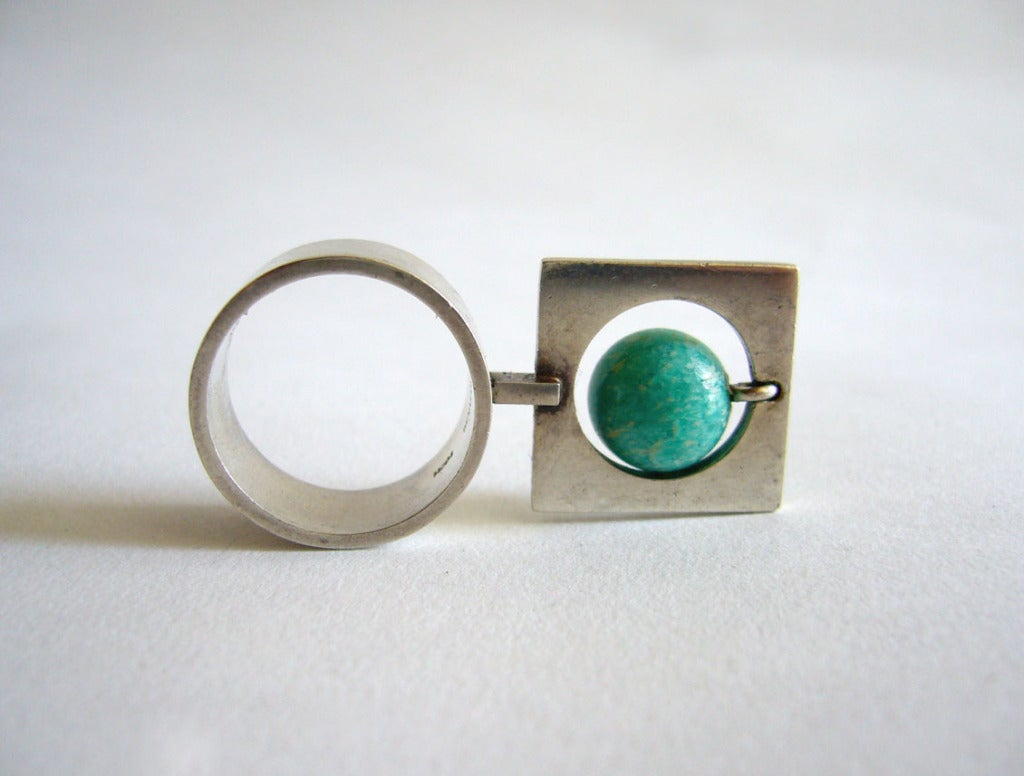 hans hansen sterling amazonite kinetic ring at 1stdibs